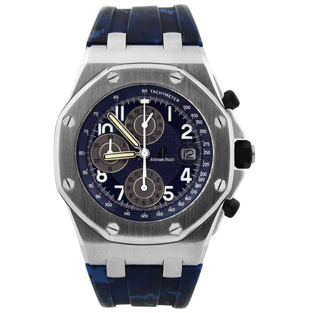 Audemars Piguet Mens Royal Oak Offshore Stainless Steel 42mm Blue Arabic Dial Watch - Happy Jewelers Fine Jewelry Lifetime Warranty