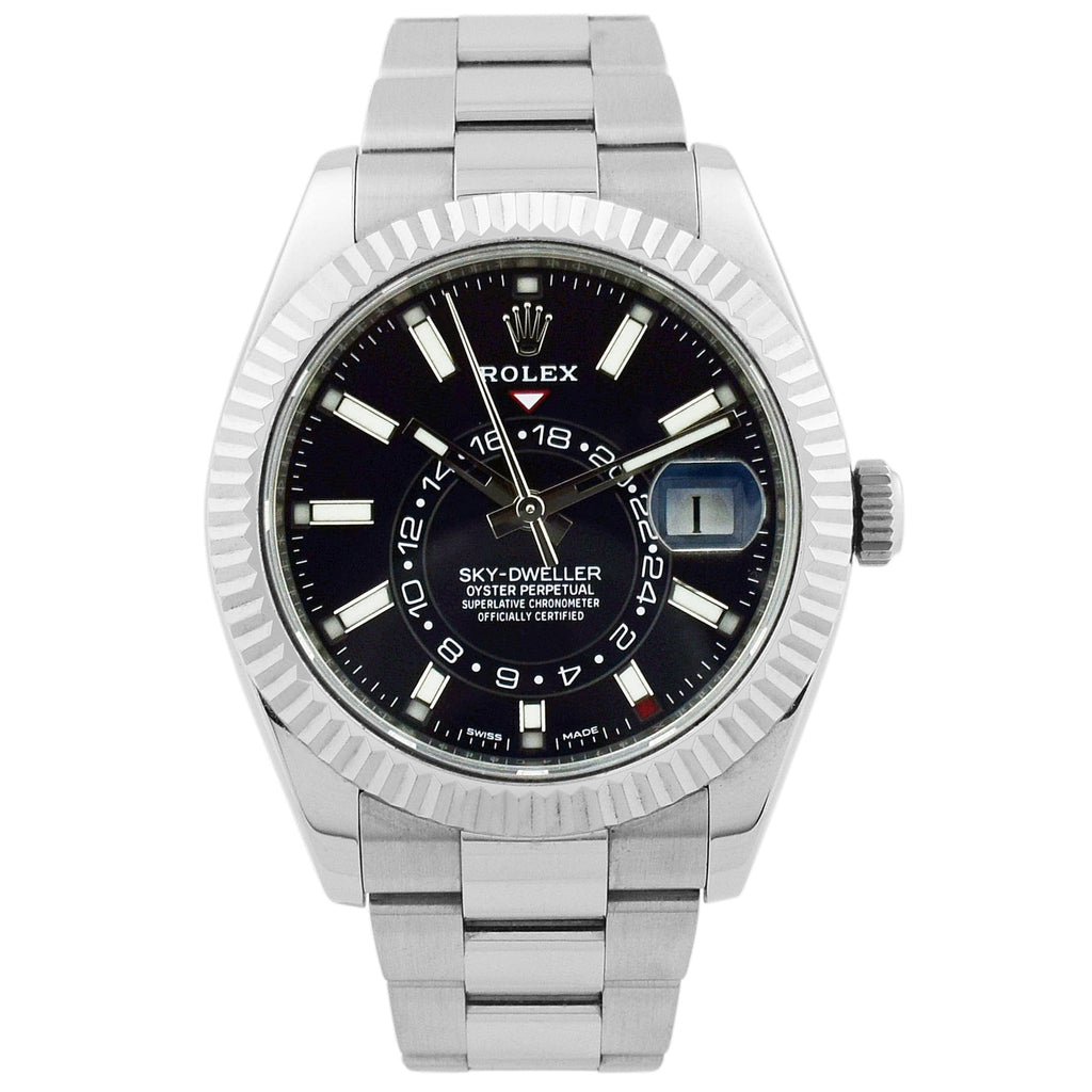 Rolex Mens Sky-Dweller Stainless Steel 42mm Black Luminous Dial Watch - Happy Jewelers Fine Jewelry Lifetime Warranty