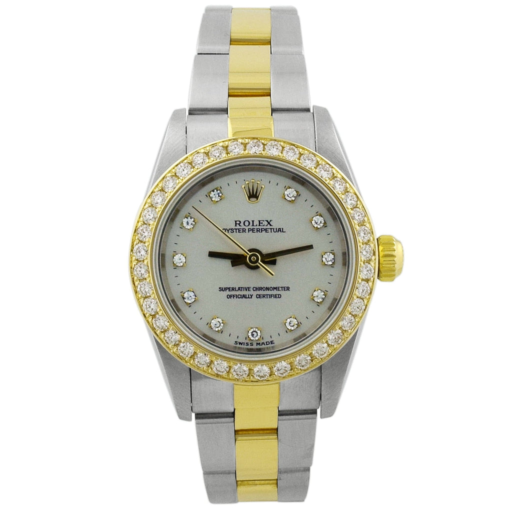 Rolex Lady Oyster Perpetual 18KT Yellow Gold & Steel 24mm Silver Diamond Dial Watch - Happy Jewelers Fine Jewelry Lifetime Warranty