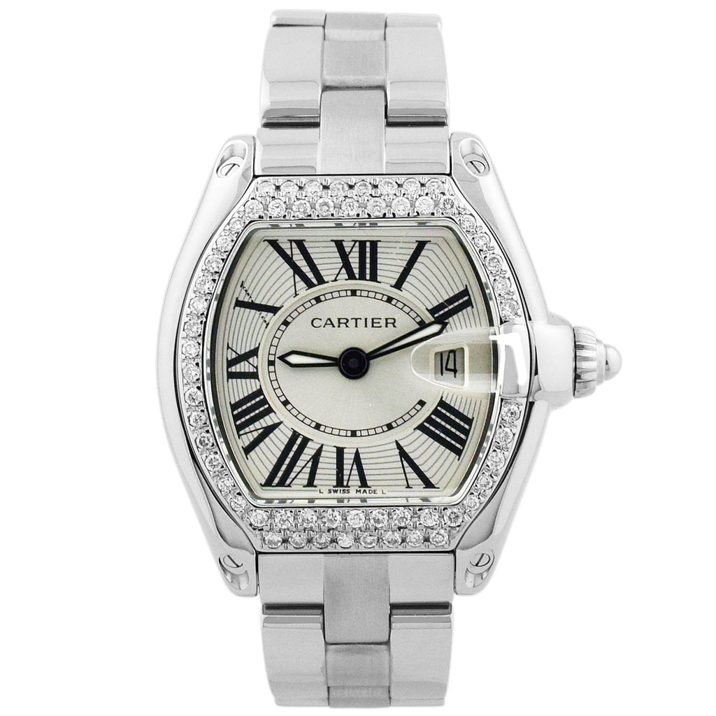 Cartier Lady Roadster Stainless Steel 31mm Silver Roman Dial Watch - Happy Jewelers Fine Jewelry Lifetime Warranty