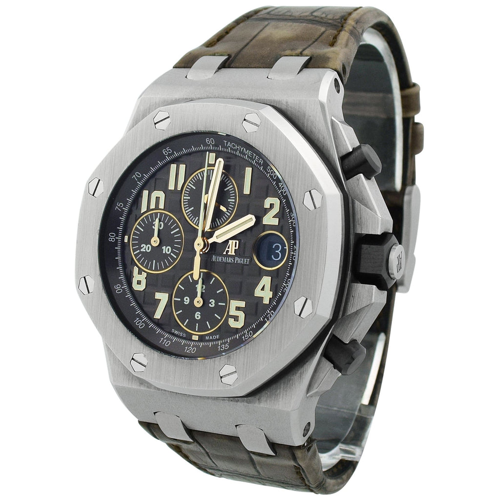 Audemars Piguet Mens Royal Oak Offshore Stainless Steel 42mm Brown Arabic Dial Watch - Happy Jewelers