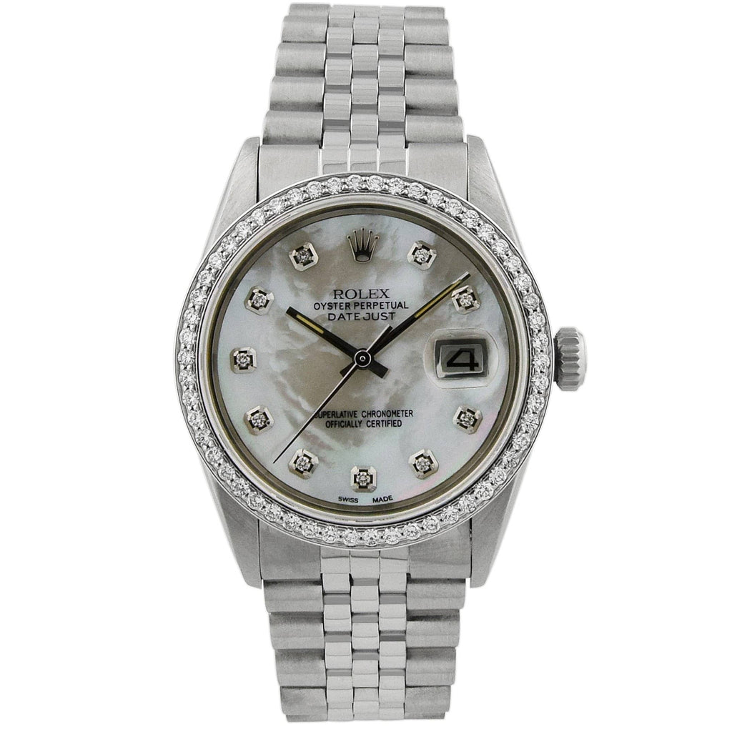 Rolex Unisex Datejust Stainless Steel 36mm Red Diamond Dial Watch with Custom Diamond Bezel Watch - Happy Jewelers Fine Jewelry Lifetime Warranty
