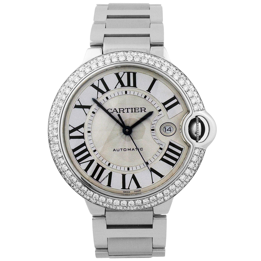 Cartier Mens Ballon Bleu Stainless Steel 42mm Silver Roman Dial Watch With Custom Diamond Bezel - Happy Jewelers Fine Jewelry Lifetime Warranty