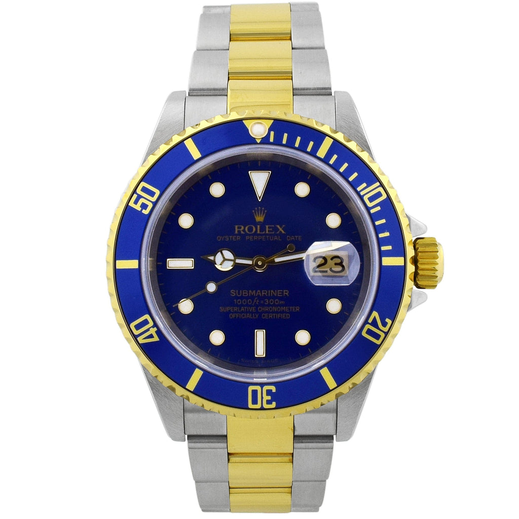 Rolex Mens Submariner 18KT Yellow Gold & Steel 40mm Blue Luminous Dial Watch - Happy Jewelers Fine Jewelry Lifetime Warranty
