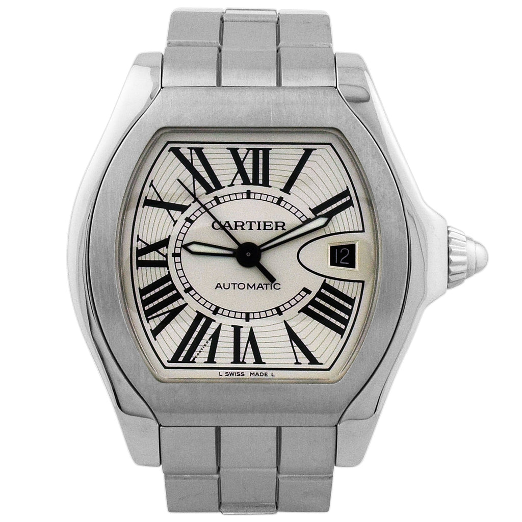 Cartier Lady Roadster Stainless Steel 40mm Silver Roman Dial Watch Reference #: 3312 - Happy Jewelers Fine Jewelry Lifetime Warranty