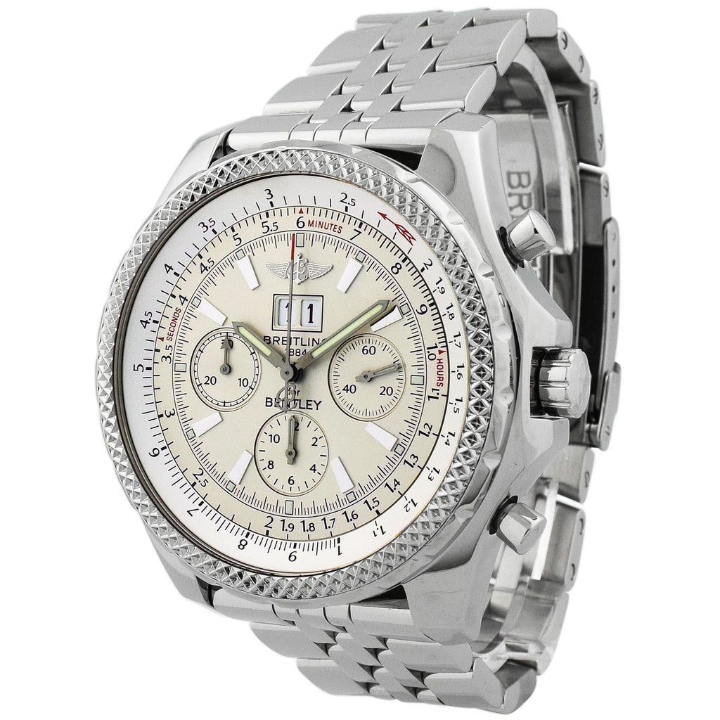 Breitling Mens Bentley 6.75 Stainless Steel 49mm Silver Dial Watch - Happy Jewelers Fine Jewelry Lifetime Warranty