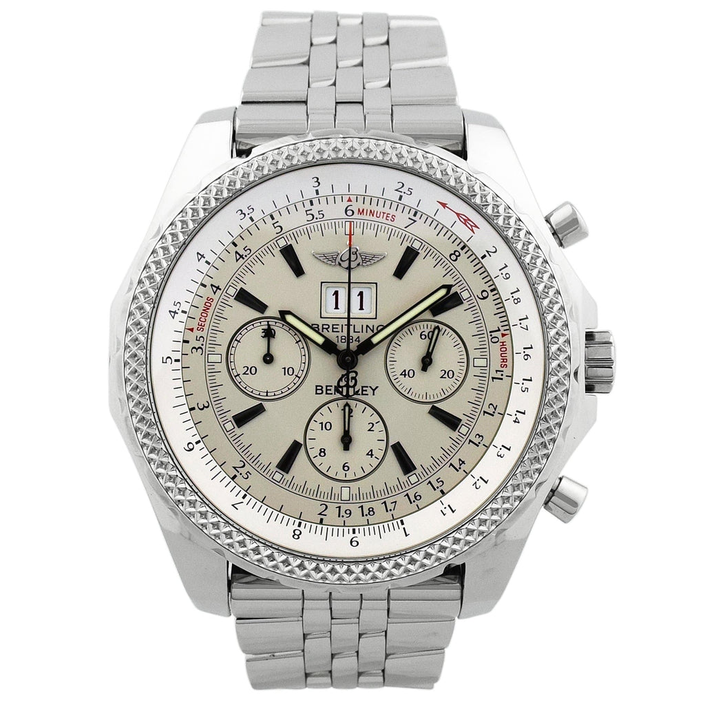 Breitling Mens Bentley 6.75 Stainless Steel 49mm Silver Dial Watch Reference #: A44362 - Happy Jewelers Fine Jewelry Lifetime Warranty