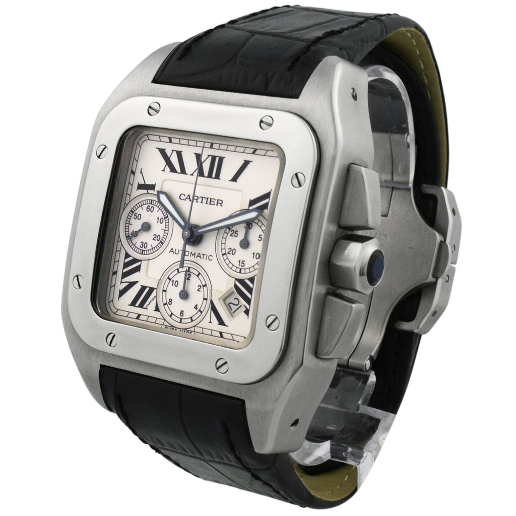 Cartier Mens Santos 100 XL Stainless Steel 41x55mm White Roman Dial Watch - Happy Jewelers Fine Jewelry Lifetime Warranty