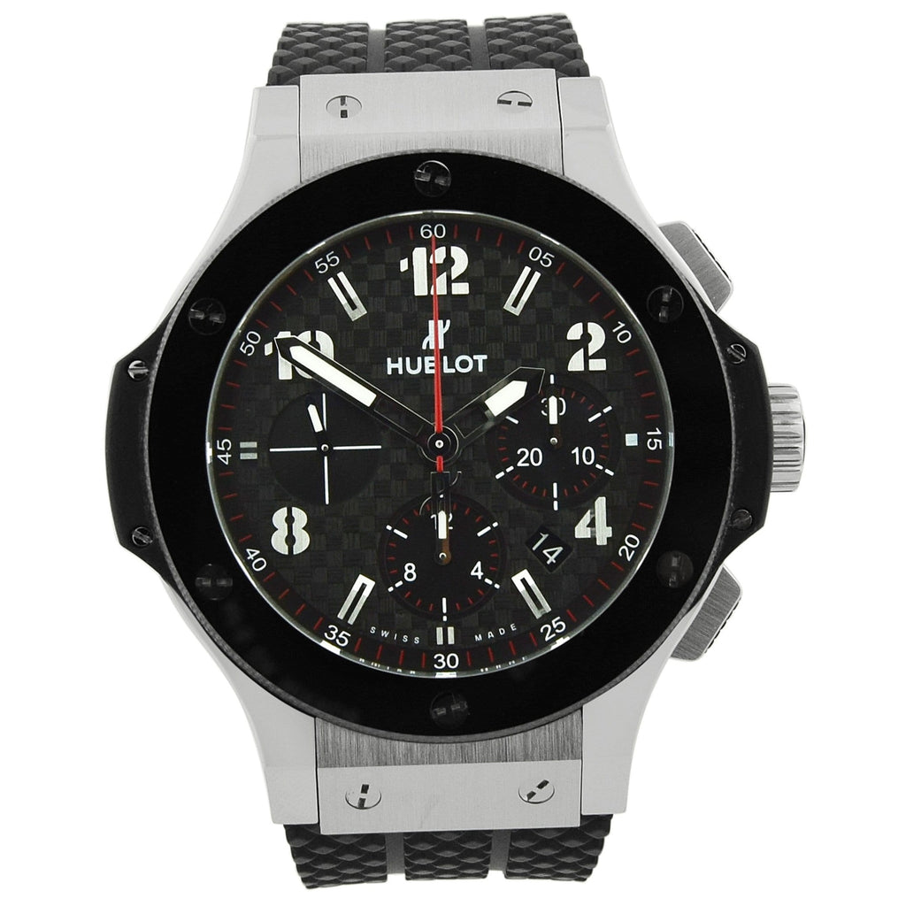 Hublot Mens Big Bang Stainless Steel 44mm Black Fiber Roman Dial Watch - Happy Jewelers Fine Jewelry Lifetime Warranty