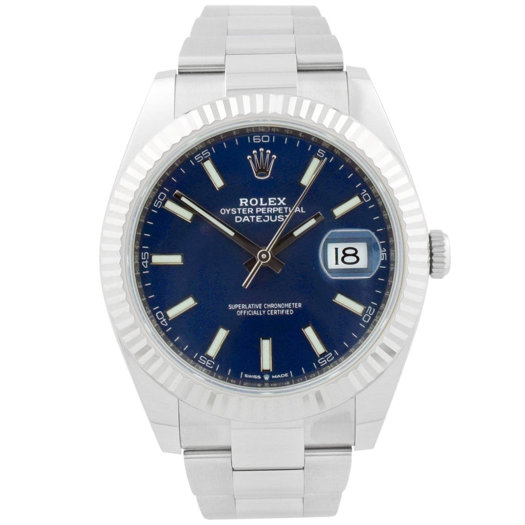 Rolex Mens Datejust 41 Stainless Steel 41mm Blue Luminous Dial Watch - Happy Jewelers Fine Jewelry Lifetime Warranty