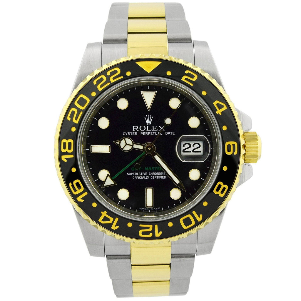 Rolex Mens GMT-Master II 18KT Yellow Gold & Steel 40mm Black Luminous Dial Watch Ceramic Bezel - Happy Jewelers Fine Jewelry Lifetime Warranty