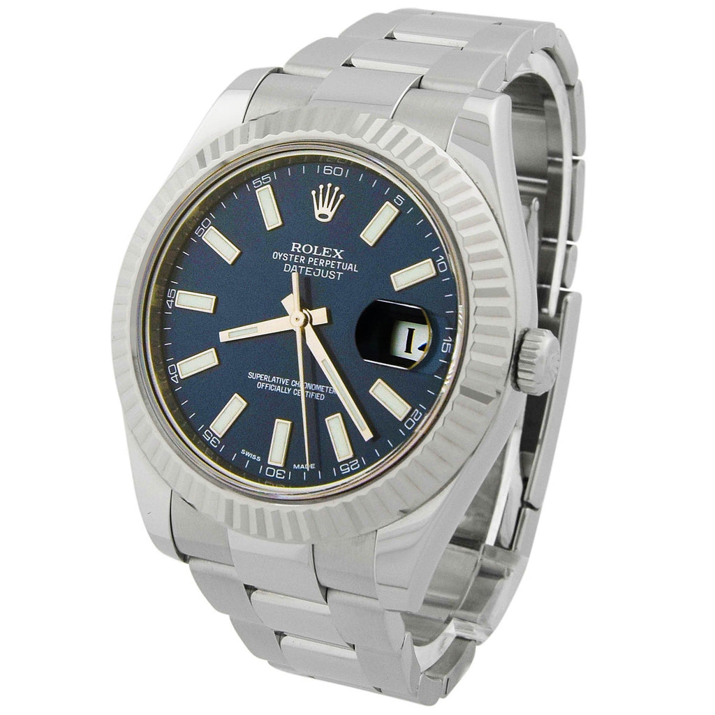 Rolex Mens Datejust II Stainless Steel 41mm Blue Luminous Dial Watch - Happy Jewelers Fine Jewelry Lifetime Warranty