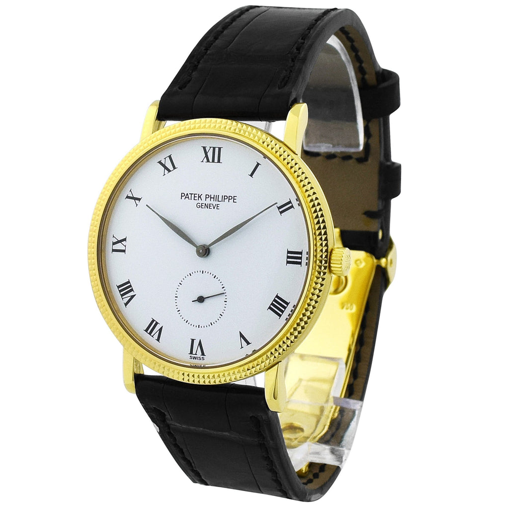 Patek Philippe Unisex Calatrava 18KT Yellow Gold 36mm White Roman Dial Watch - Happy Jewelers Fine Jewelry Lifetime Warranty