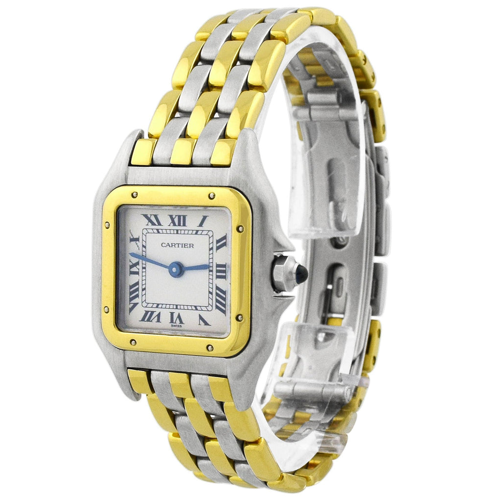 Cartier Lady Panthere 18KT Yellow Gold & Steel 22x30mm Silver Roman Dial Watch - Happy Jewelers Fine Jewelry Lifetime Warranty