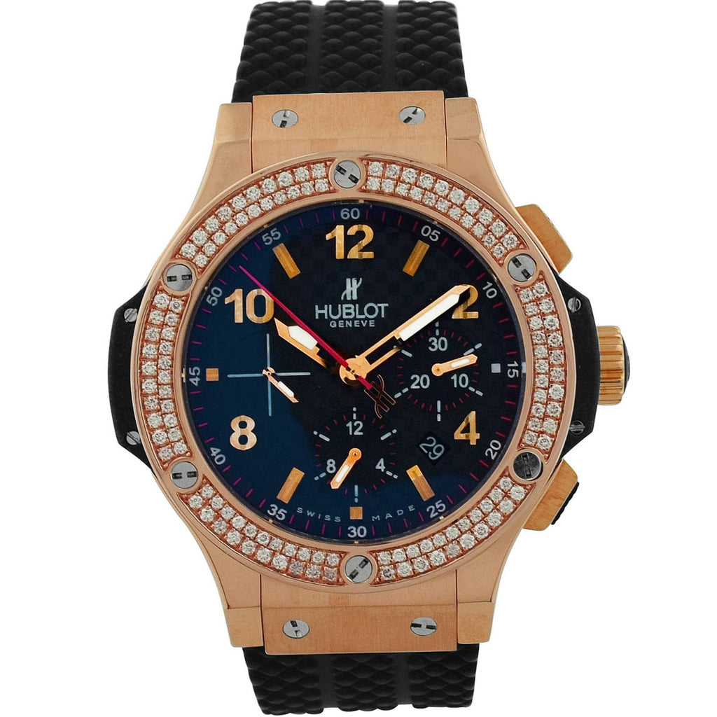 Hublot Mens Big Bang 18KT Rose Gold 44mm Carbon Arabic Dial Watch - Happy Jewelers Fine Jewelry Lifetime Warranty