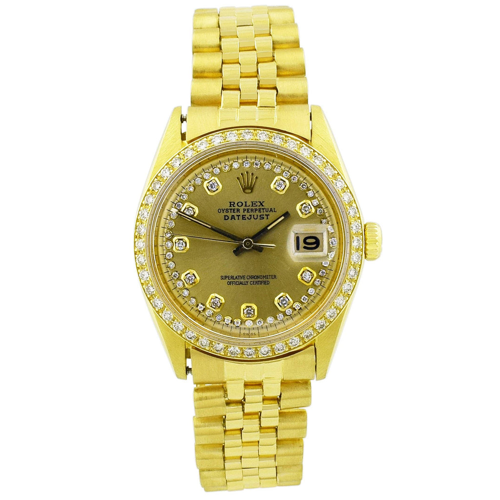 Rolex Unisex Datejust 18KT Yellow Gold 36mm Champagne Diamond Dial Watch - Happy Jewelers Fine Jewelry Lifetime Warranty