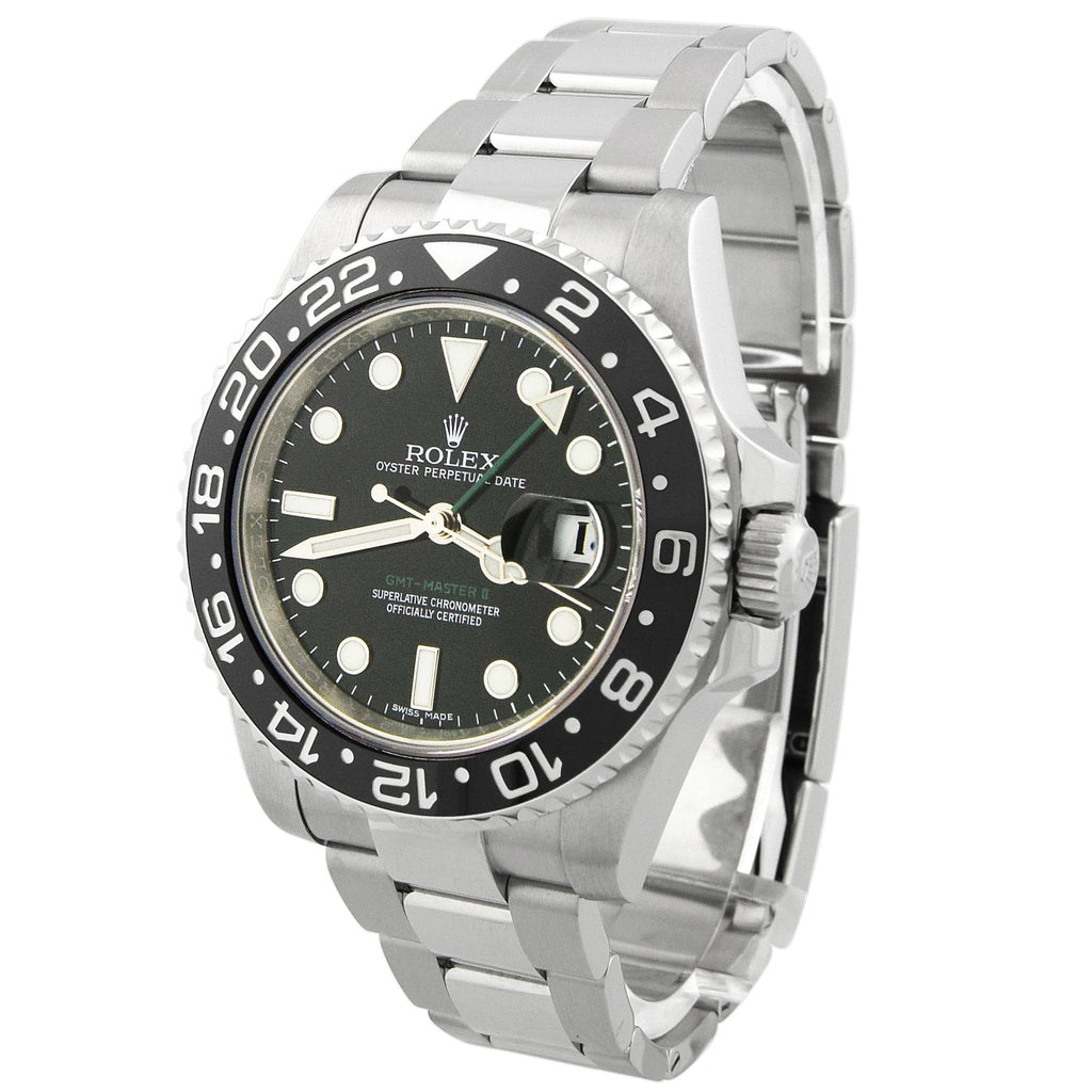 Rolex Mens GMT-Master II Stainless Steel 40mm Black Luminous Dial Watch - Happy Jewelers Fine Jewelry Lifetime Warranty