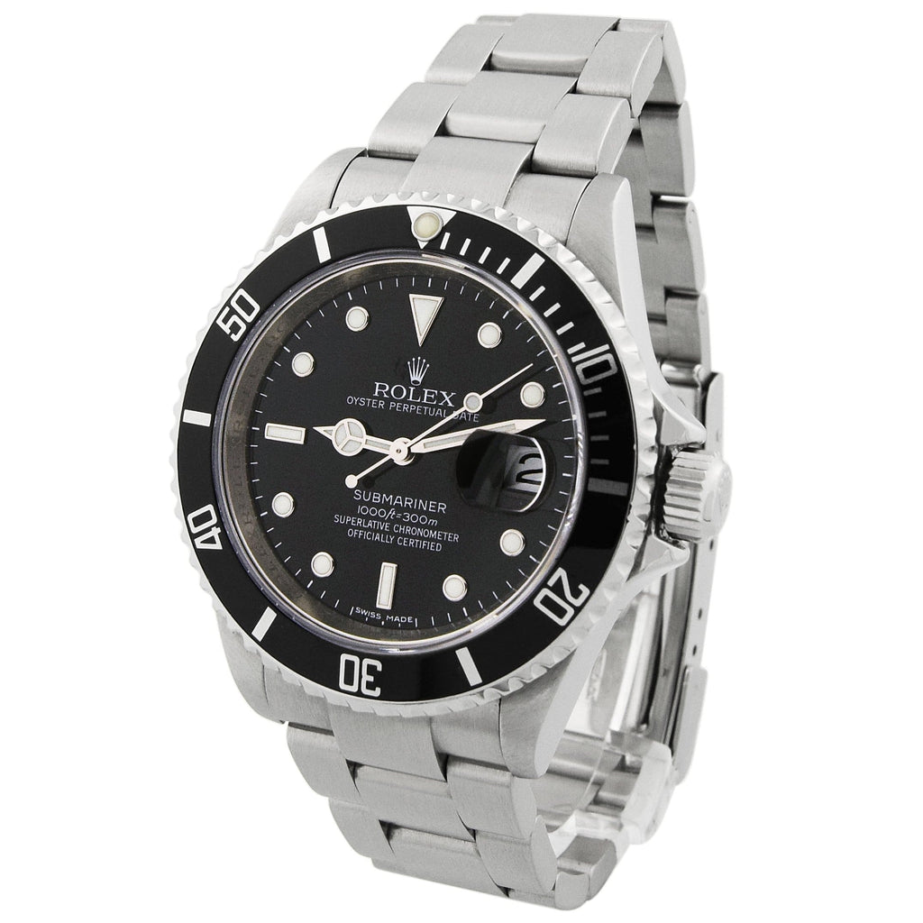 Rolex Mens Submariner Stainless Steel 40mm Black Luminous Dial Watch - Happy Jewelers Fine Jewelry Lifetime Warranty