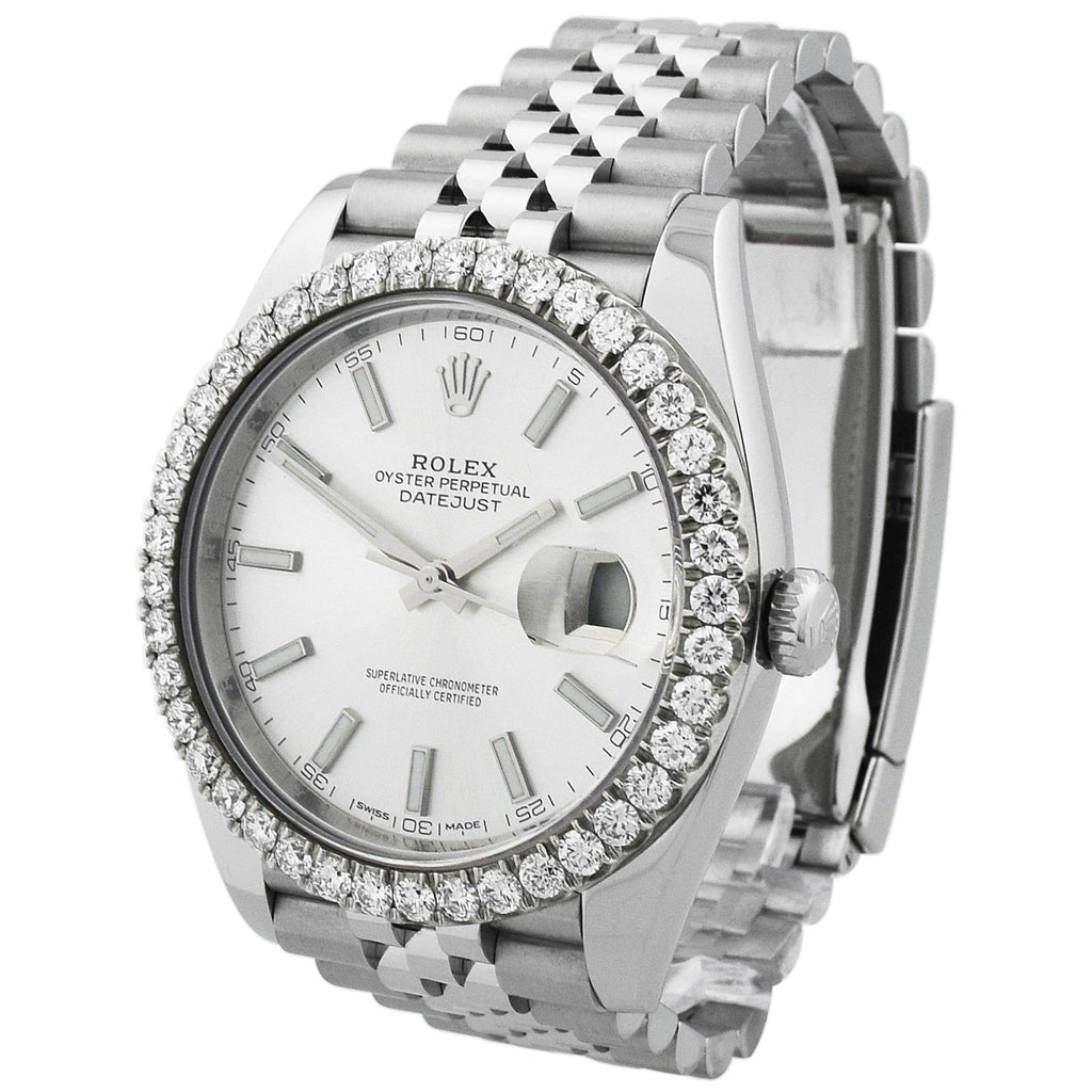 Rolex Mens Datejust 41 Stainless Steel 41mm Silver Luminous Dial Watch - Happy Jewelers Fine Jewelry Lifetime Warranty