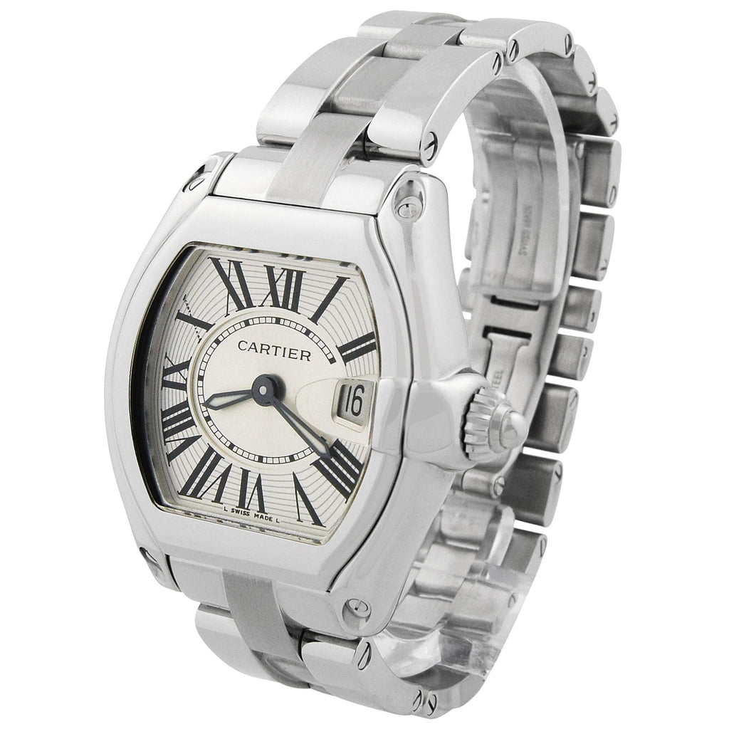 Cartier Lady Roadster Stainless Steel 30x36mm Silver Roman Dial Watch - Happy Jewelers Fine Jewelry Lifetime Warranty