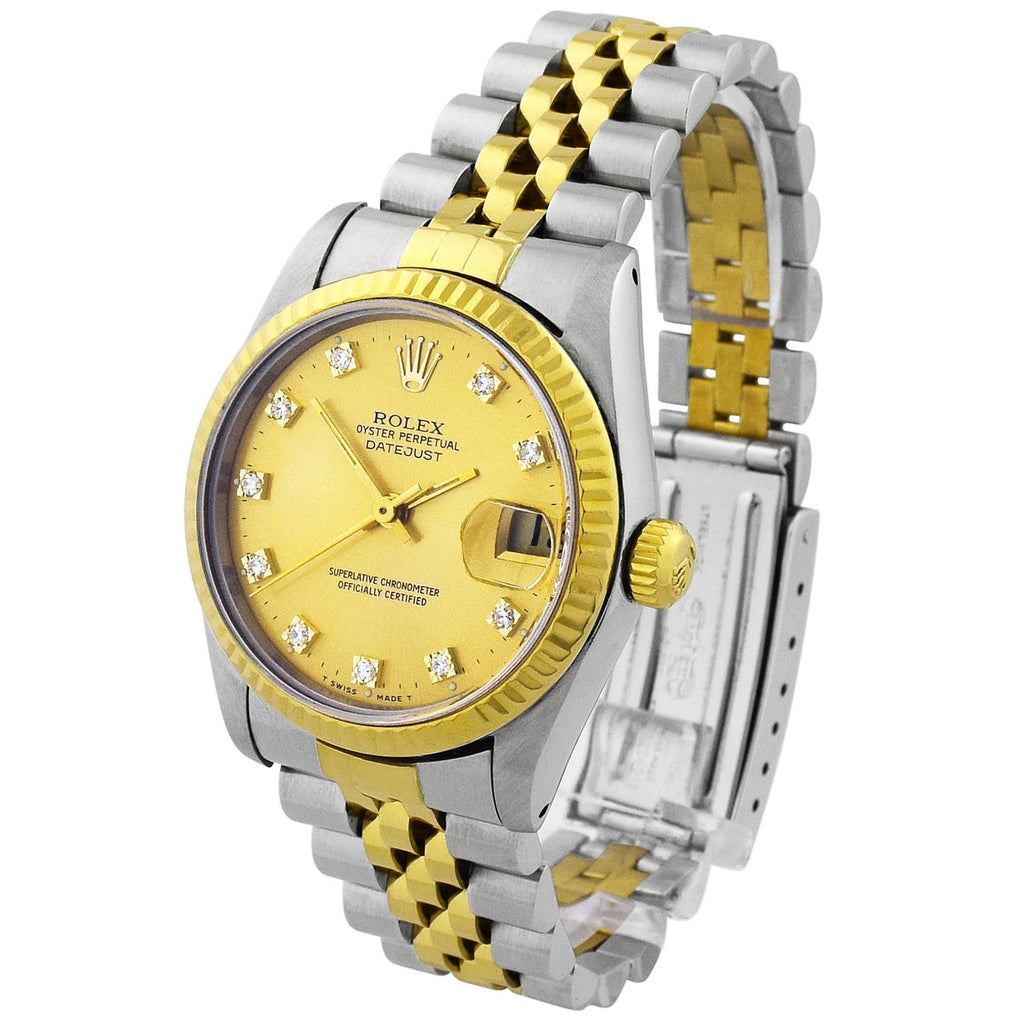 Rolex Lady Datejust 18KT Yellow Gold & Steel 31mm Champagne Diamond Dial Watch - Happy Jewelers Fine Jewelry Lifetime Warranty
