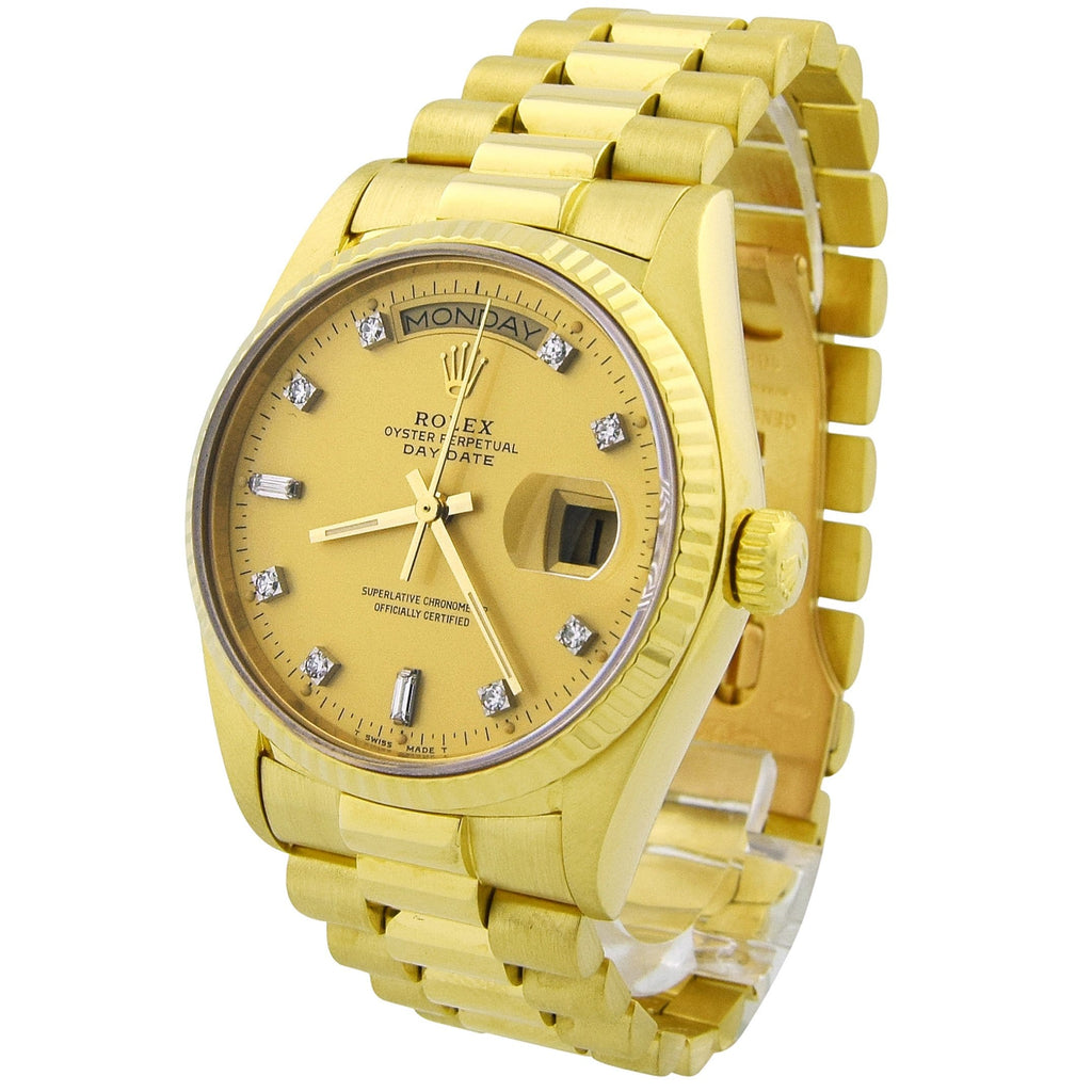 Rolex Unisex Day-Date 18KT Yellow Gold 36mm Champagne Diamond Dial Watch - Happy Jewelers Fine Jewelry Lifetime Warranty