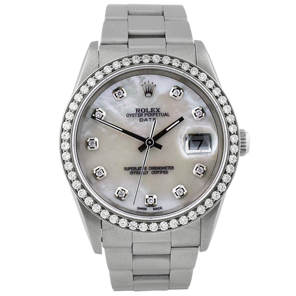 Rolex Unisex Date Stainless Steel 34mm MOP Diamond Dial Watch - Happy Jewelers Fine Jewelry Lifetime Warranty