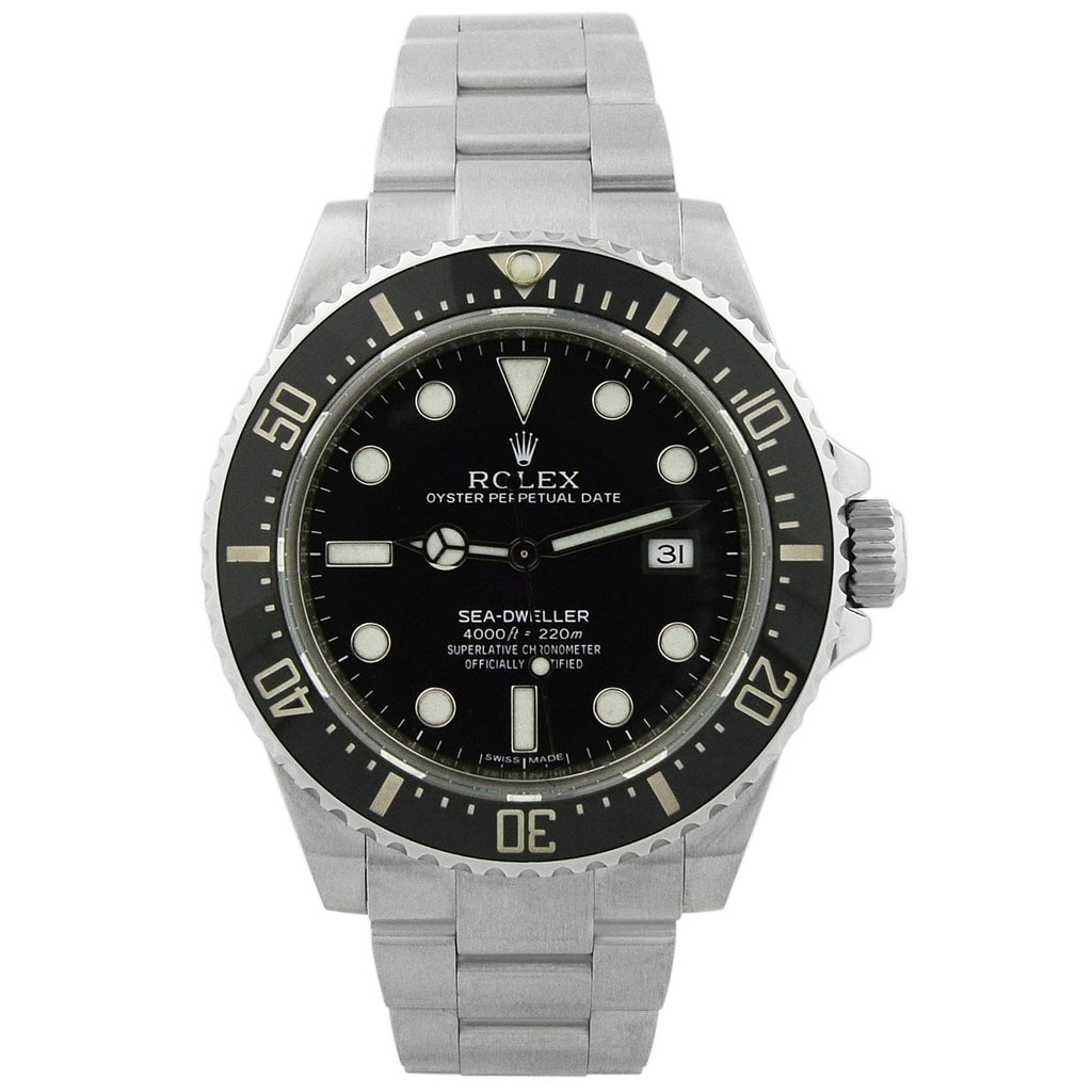 Rolex Mens Sea-Dweller 4000 Stainless Steel 40mm Black Luminous Dial Watch Ceramic Bezel - Happy Jewelers Fine Jewelry Lifetime Warranty