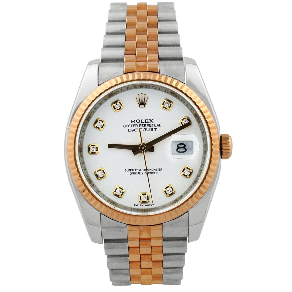 Rolex Unisex Datejust 18KT Rose Gold & Steel 36mm White Diamond Dial Watch - Happy Jewelers Fine Jewelry Lifetime Warranty