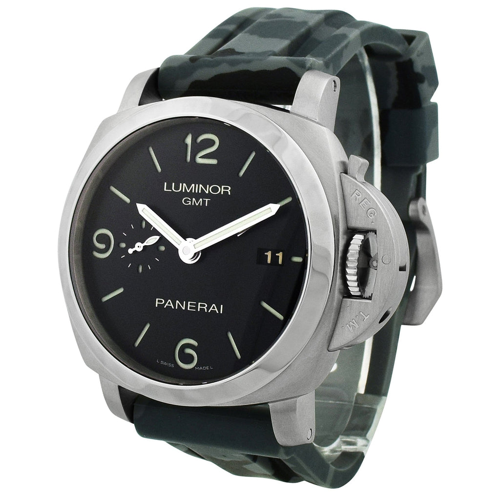 Panerai Mens Luminor 1950 3 Days Stainless Steel 44mm Black Dial Watch - Happy Jewelers Fine Jewelry Lifetime Warranty