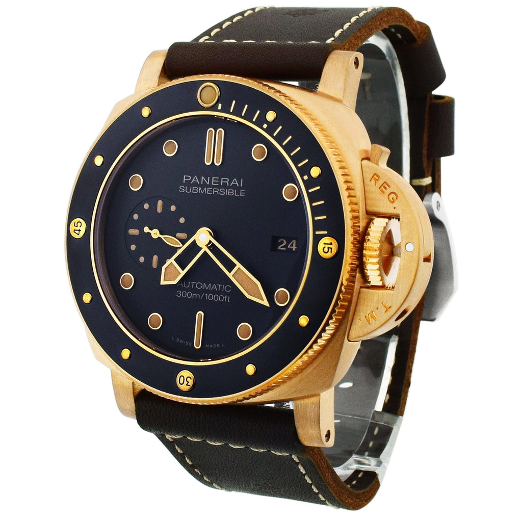 Panerai Mens Luminor Submersible Bronze 47mm Black Dial Watch - Happy Jewelers Fine Jewelry Lifetime Warranty