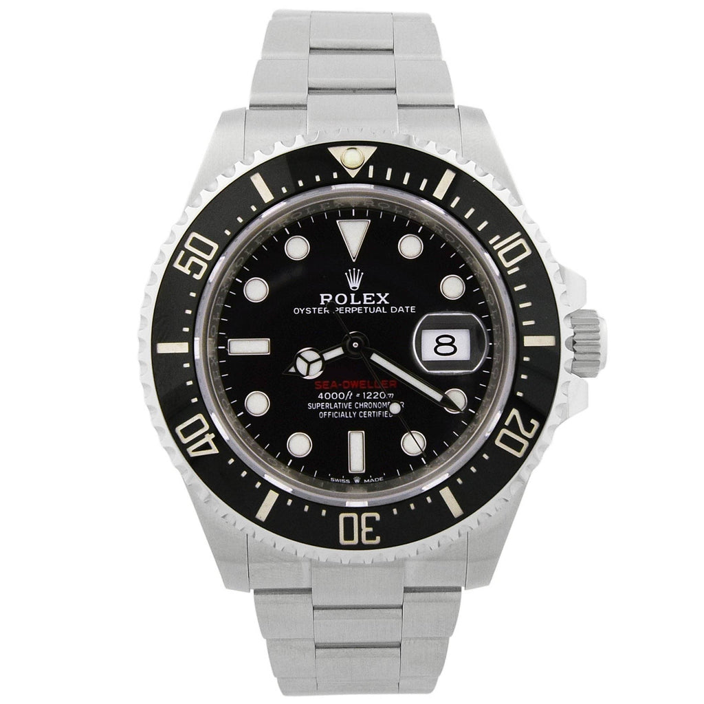 Rolex Mens Sea-Dweller Stainless Steel 43mm Black Luminous Dial Watch - Happy Jewelers Fine Jewelry Lifetime Warranty