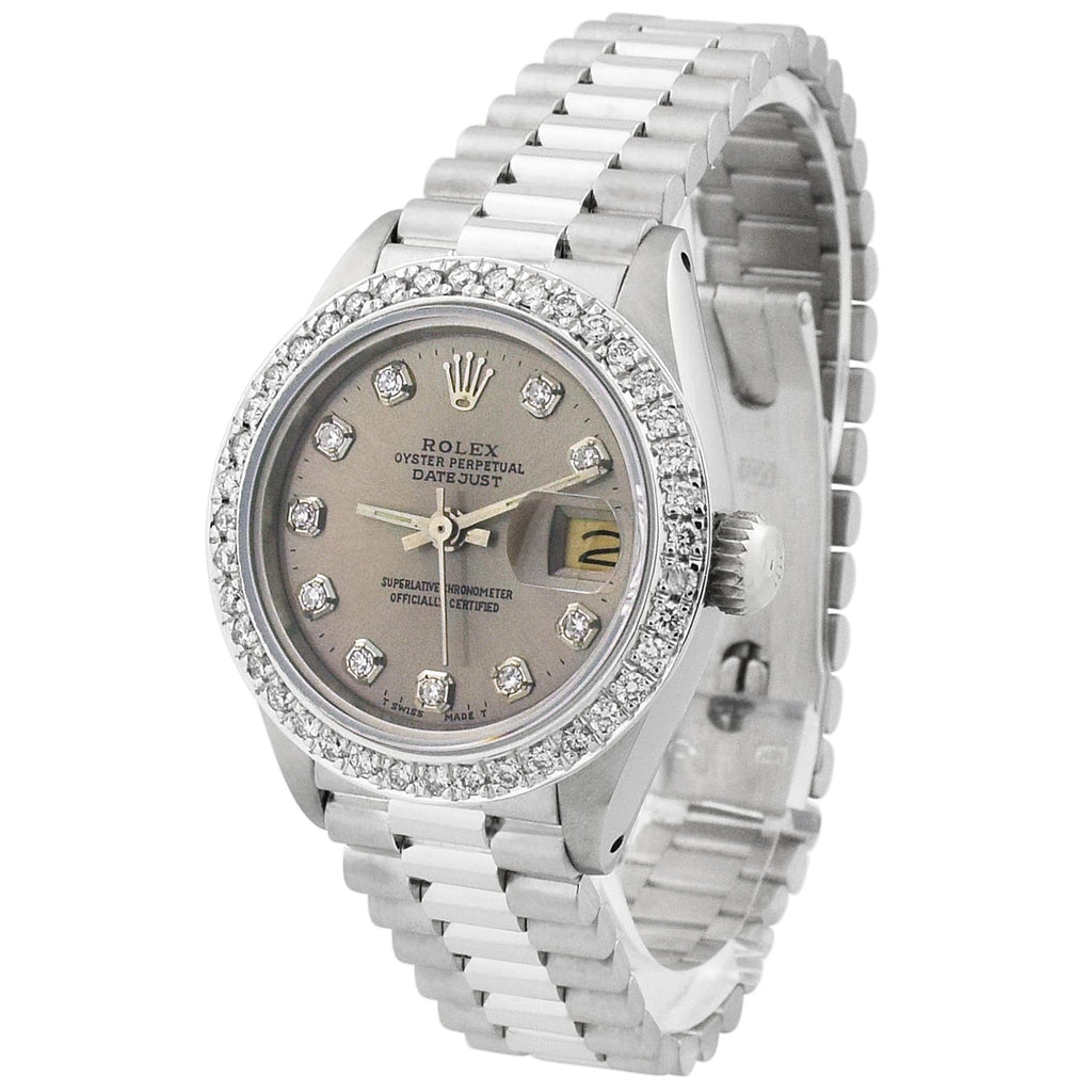 Rolex Lady Datejust Stainless Steel 26mm Silver Diamond Dial Watch Custom Diamonds on After Market President Bracelet - Happy Jewelers Fine Jewelry Lifetime Warranty