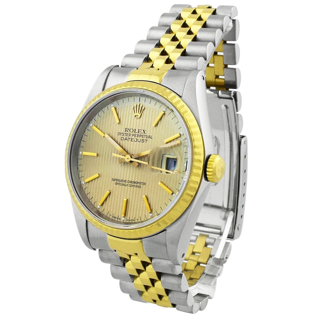 Rolex Unisex Datejust 18KT Yellow Gold & Steel 36mm Champagne Stripe Dial Watch Reference #: 16233 - Happy Jewelers Fine Jewelry Lifetime Warranty