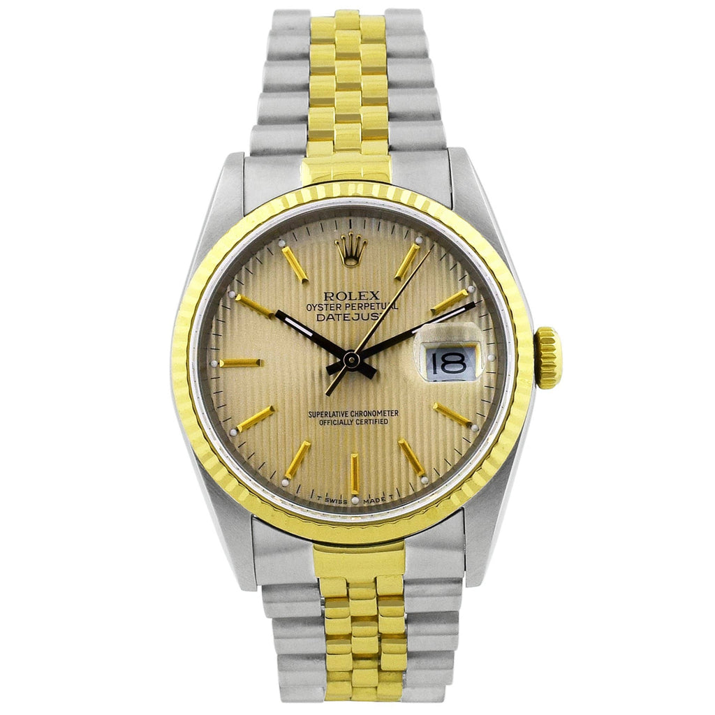 Rolex Unisex Datejust 18KT Yellow Gold & Steel 36mm Champagne Stripe Dial Watch - Happy Jewelers Fine Jewelry Lifetime Warranty