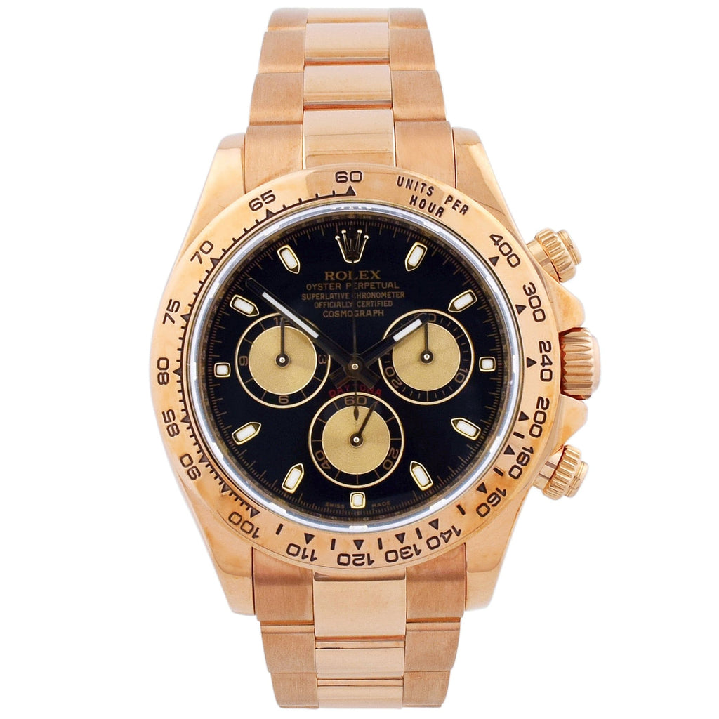 Rolex Mens Daytona 18KT Rose Gold 40mm Black Dial Watch - Happy Jewelers Fine Jewelry Lifetime Warranty