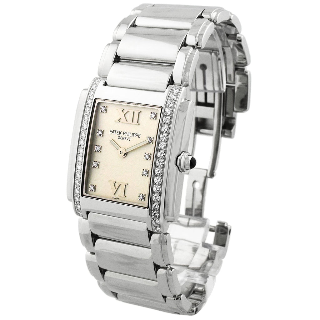 Patek Philippe Lady Twenty-4 Stainless Steel 30x35mm Silver Diamond Dial Watch - Happy Jewelers Fine Jewelry Lifetime Warranty
