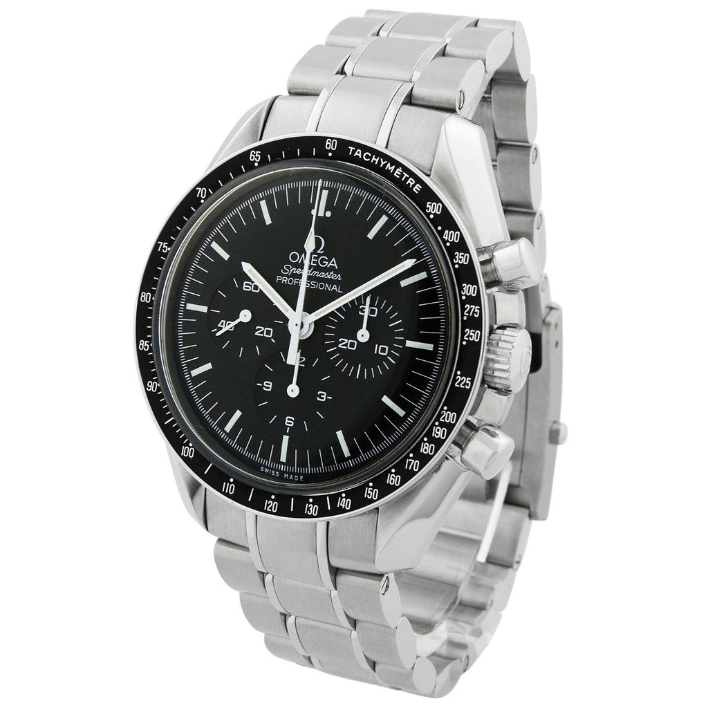 Omega Mens Speedmaster Moonwatch Stainless Steel 42mm Black Dial Watch - Happy Jewelers Fine Jewelry Lifetime Warranty