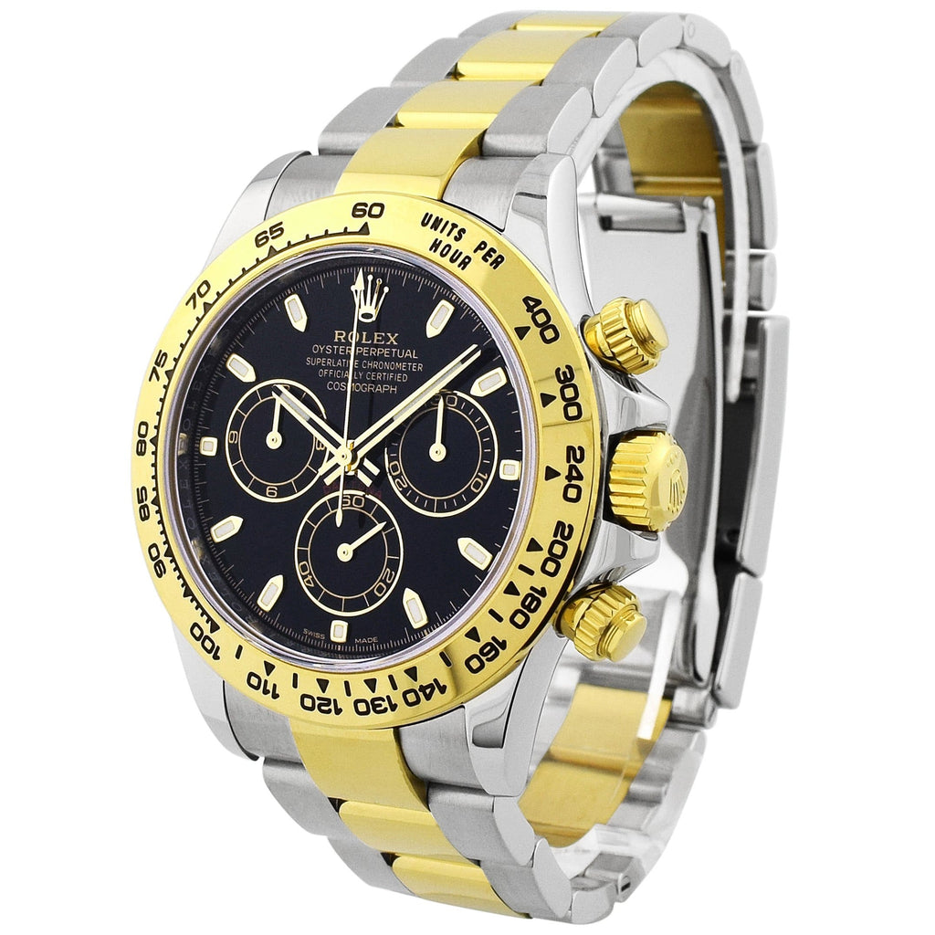 Rolex Mens Daytona 18KT Yellow Gold & Steel 40mm Black Dial Watch - Happy Jewelers Fine Jewelry Lifetime Warranty