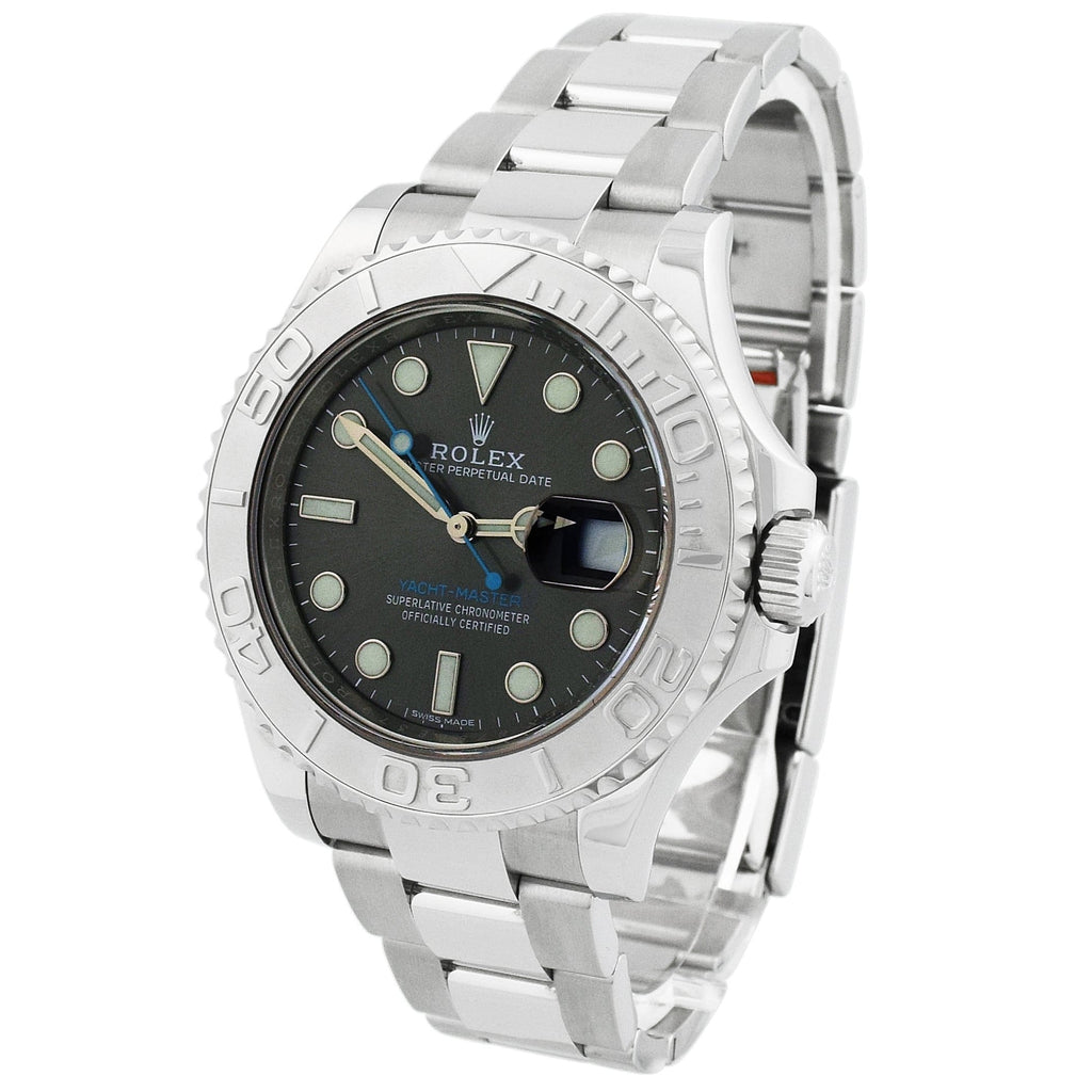 Rolex Mens Yacht-Master Stainless Steel 40mm Rhodium Luminous Dial Watch - Happy Jewelers Fine Jewelry Lifetime Warranty