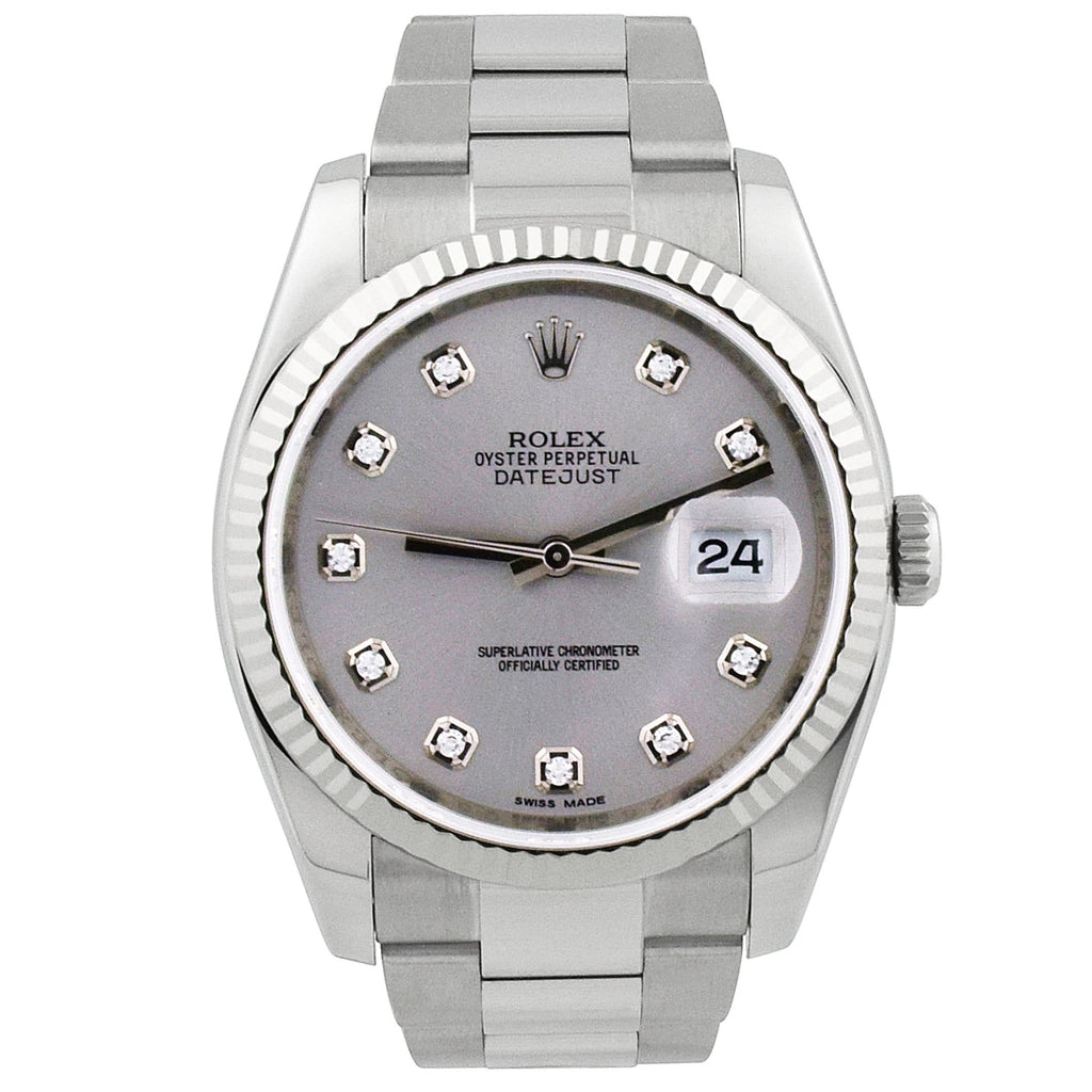 Rolex Unisex Datejust Stainless Steel 36mm Silver Diamond Dial Watch - Happy Jewelers Fine Jewelry Lifetime Warranty