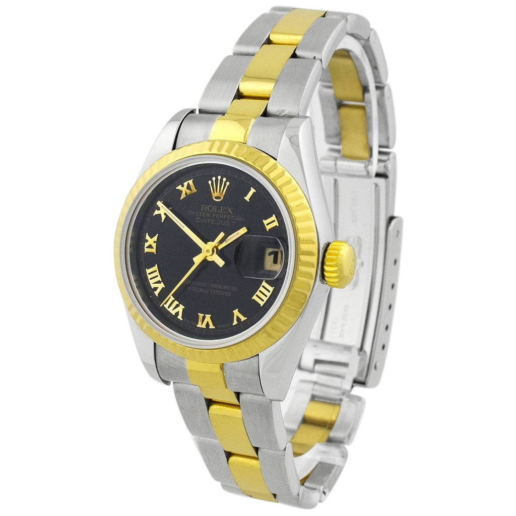 Rolex Lady Datejust 18KT Yellow Gold & Steel 26mm Black Roman Dial Watch - Happy Jewelers Fine Jewelry Lifetime Warranty