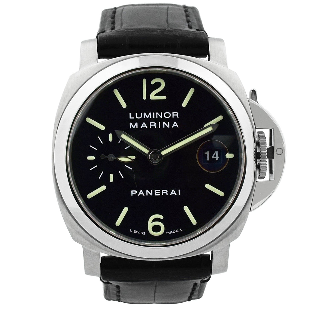 Panerai Mens Luminor Marina Stainless Steel 40mm Black Dial Watch - Happy Jewelers Fine Jewelry Lifetime Warranty
