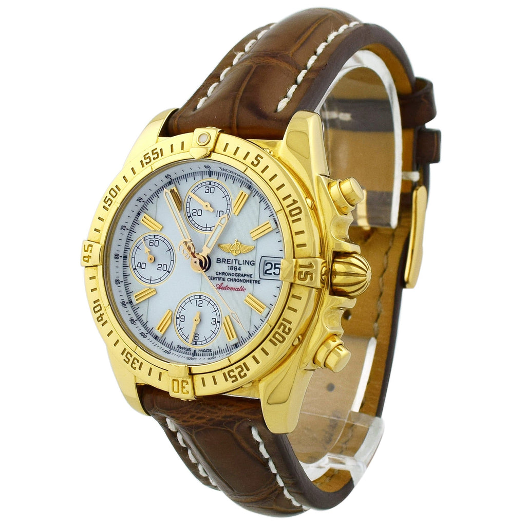 Breitling Mens Chrono Cockpit 18KT Yellow Gold 39mm White Dial Watch - Happy Jewelers Fine Jewelry Lifetime Warranty
