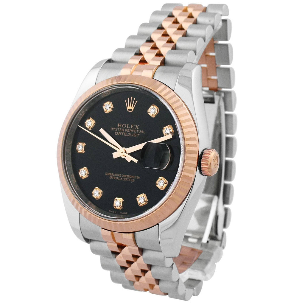 Rolex Unisex Datejust 18KT Rose Gold & Steel 36mm Black Diamond Dial Watch - Happy Jewelers Fine Jewelry Lifetime Warranty