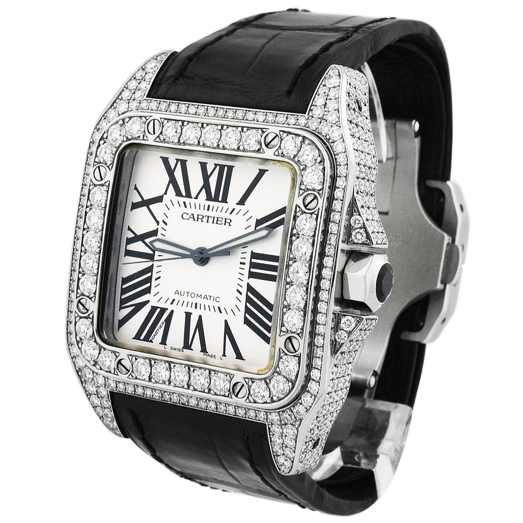 Cartier Mens Santos 100 Stanless Steel 41x51mm Silver Roman Dial Watch - Happy Jewelers Fine Jewelry Lifetime Warranty