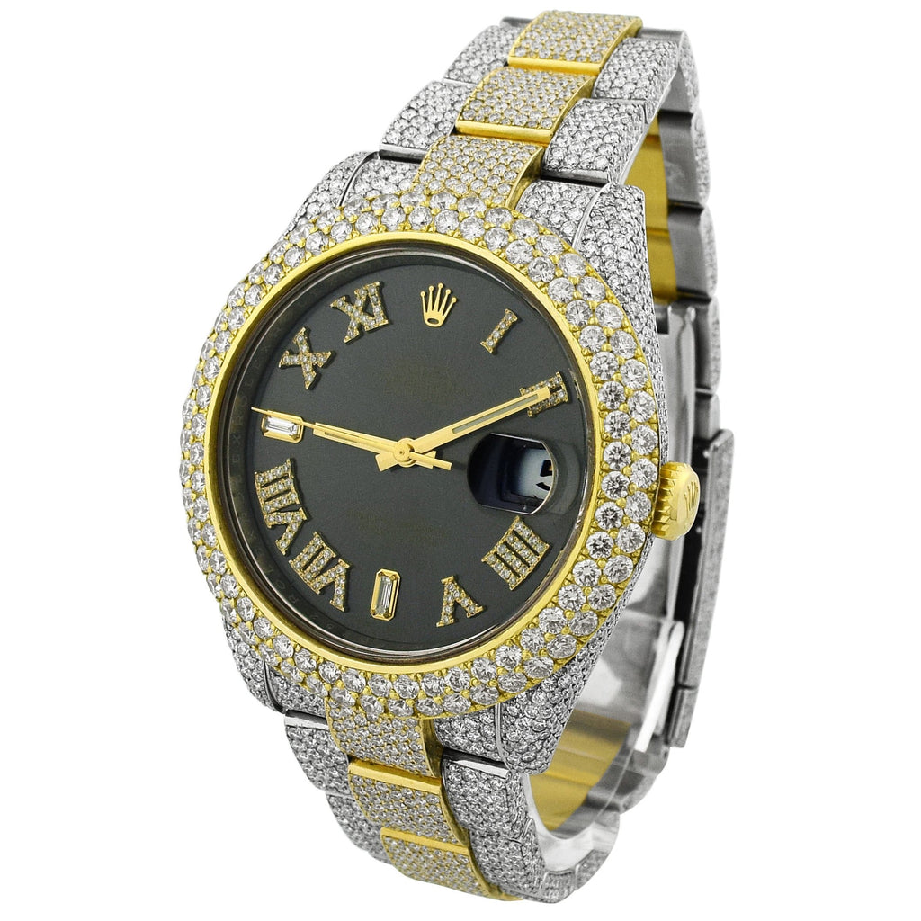 Rolex Mens Datejust 41 18KT Yellow Gold & Steel 41mm Rhodium Roman Diamond Dial Watch - Happy Jewelers Fine Jewelry Lifetime Warranty