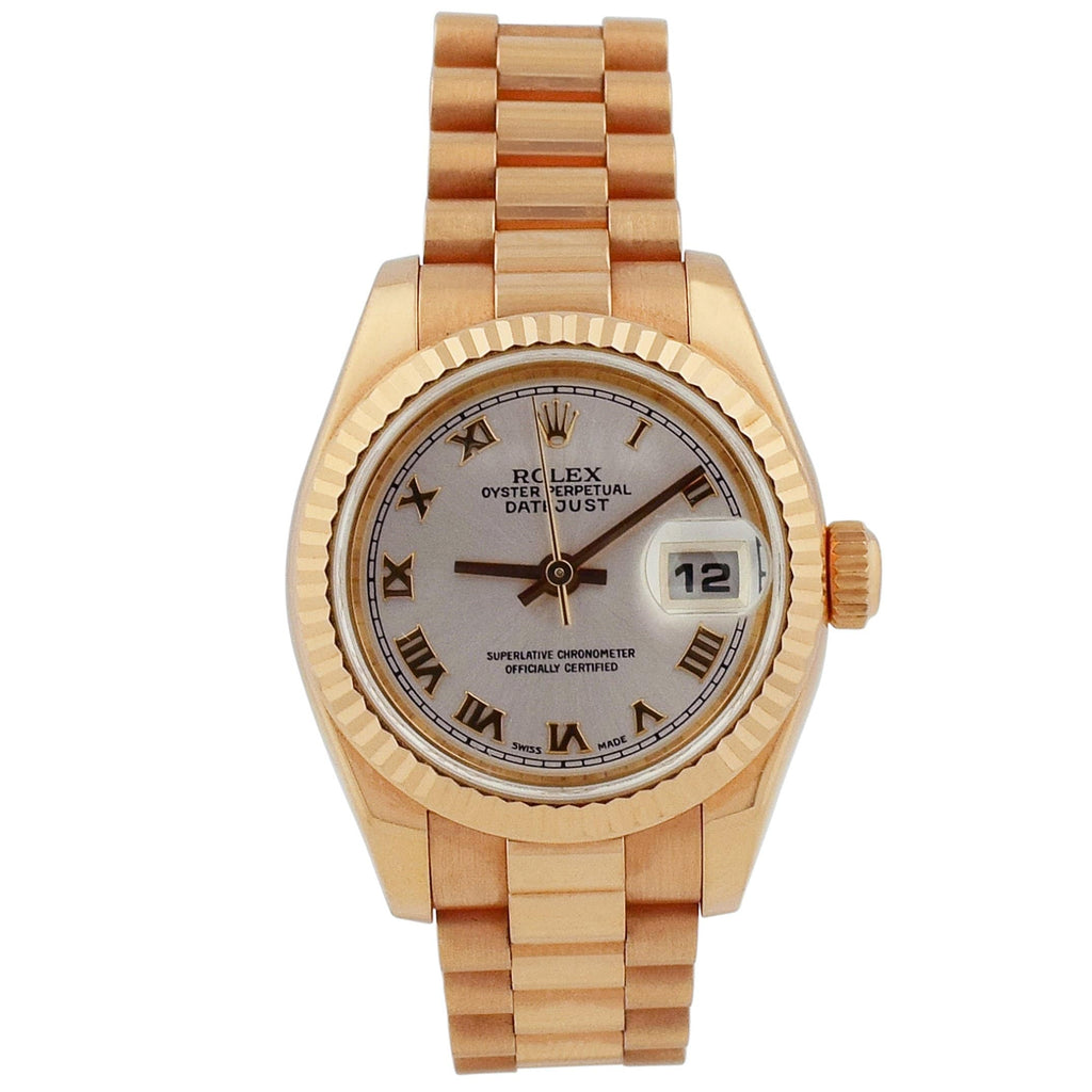 Rolex Lady Datejust 18KT Rose Gold 26mm Pink Roman Dial Watch - Happy Jewelers Fine Jewelry Lifetime Warranty