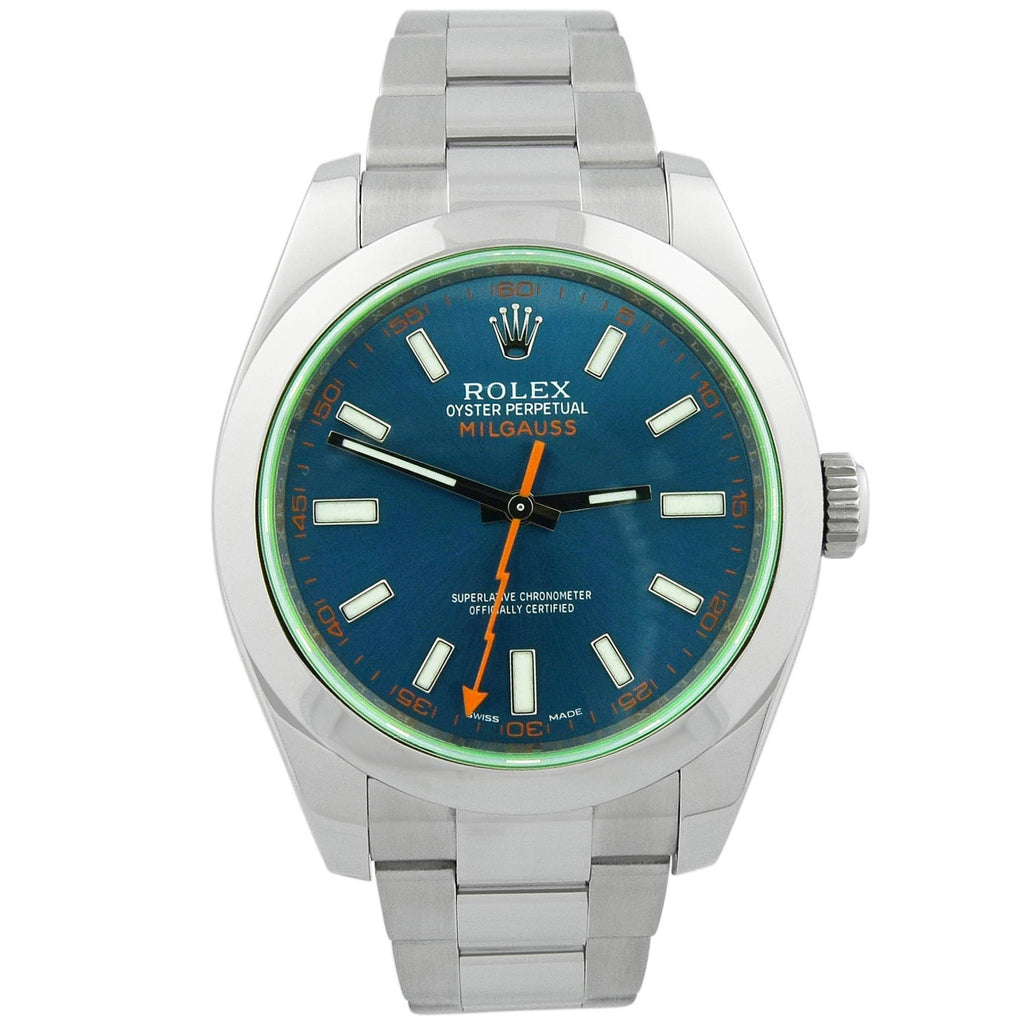 Rolex Mens Milgauss Stainless Steel 40mm Blue Luminous Dial Watch - Happy Jewelers Fine Jewelry Lifetime Warranty