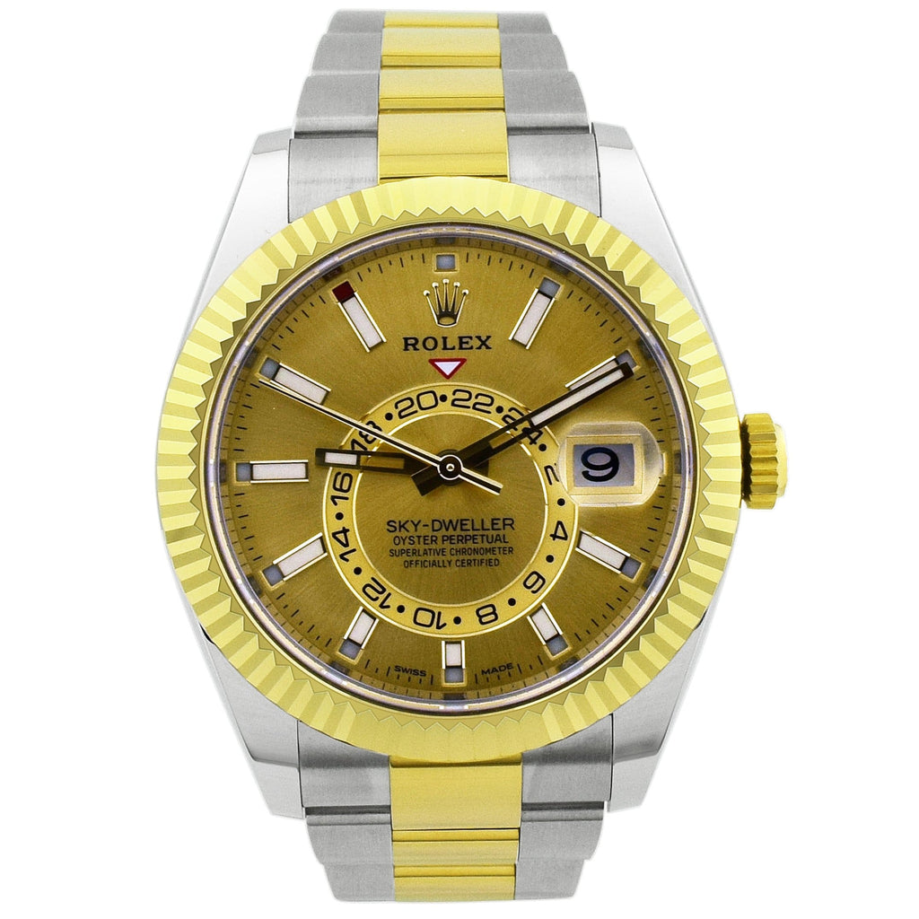 Rolex Mens Sky-Dweller 18KT Yellow Gold & Steel 42mm Champagne Luminous Dial Watch - Happy Jewelers Fine Jewelry Lifetime Warranty